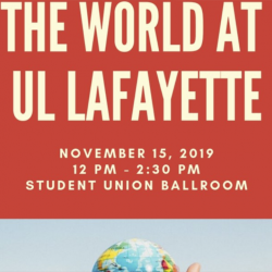 Poster for The World at UL Lafayette event.